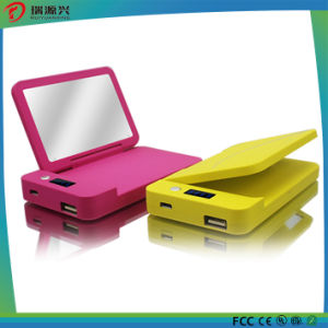 Li-Polymer 4000mAh Portable Power Bank with LED Light and Mirror