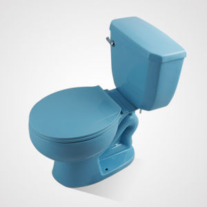 Ceramic Round Shape Floor Mounted Two Piece Wc Blue