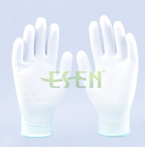 White HDPE/Polyester/Elastic Knitted Glove with PU Coated Palm/ En388: 4342