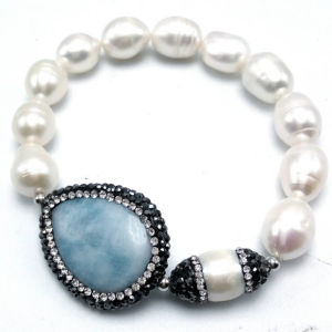 Nature Fresh Water Pearl Bracelet with Gemstone by Handmade with Love
