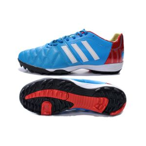 Kangroo Skin Soccer Shoe Male Football World Cup Blue Rubber Sole pictures & photos