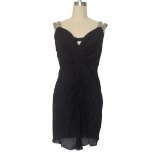 Ladies Fashion Evening Dress in Silk Double Ggt