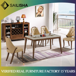 Dining Room Furniture Luxury Table Set 6 Chairs Solid Wood Marbletable With Marble Top