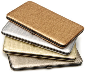 Fashion Leather Business Card Metal Wallet (W792-4)