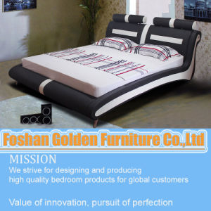New Design Bedroom Furniture Soft White Leather Bed Set pictures & photos