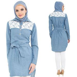 03a29b4aea China Lace Yoke Long Tunic Shirt Dress-Chambray Denim - China Islamic Lace  Clothing