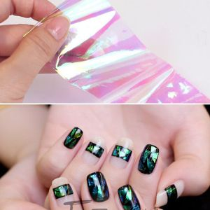 New Broken Glass Pieces Mirror Foil Tips Stencil Decal Nail Art Sticker Cute Tools pictures & photos