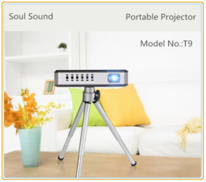 Portable 1080P Mini Projector with WiFi/Bluetooth Support TF Card/USB Flash Driver (T9)