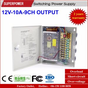 China 12V 10A 9CH Output Switching Power Supply for CCTV Camera ...