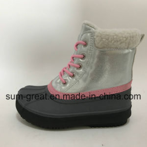 Warm Fashion Kids and Women Pink Cotton Boots with Top Quality