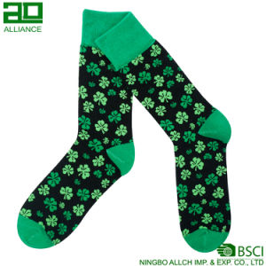Lucky Grass Pattern Wholesale Men Crew Socks