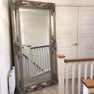 Antique Carved Louis Style Large Leaner Floor Mirror