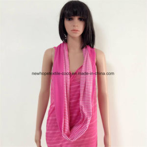 100% Cotton Jersey Material Contrast Col, Double Layers Loop Scarf with Stripe Style