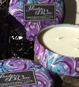 Purple Round Tin 340g Natural Soy Candle with Metal Lid