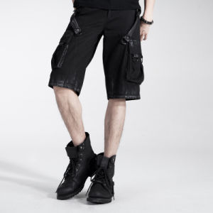 Wholesale Cotton Mens Punk Style Casual Cargo Shorts Trousers (K-156)