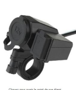 Motorcycle USB Charger with Cigarette Light Power Plugs/Outlet Socket Black pictures & photos