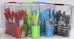 DOT Design Cutlery Set with Colorful Plastic Injection Handle, 24PCS with Basket in PVC Box Packing