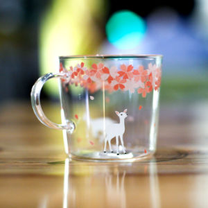 Janpanese Flower Design Borosilicate Glass Cup pictures & photos