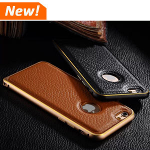 new product 80559 1b6f9 Luxury Leather Back Cover+ Aluminum Metal Bumper Case for iPhone 5 6 Plus