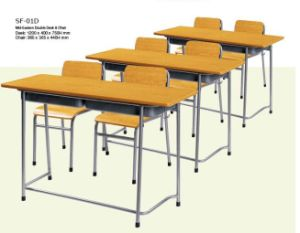 Plywood Single Desk and Chair,College Furniture Sets (SF-63F) pictures & photos