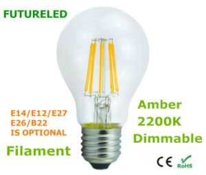 7W CE and Rhos 2200k All Glass Filament LED Lamp