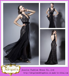 New Sexy Sheath Black Lace V-Neck Backless Tulle Sleeveless Floor Length Prom Dresses Made in China Yj0071