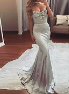 Strapless Party Prom Gowns Silver Lace Spandex Evening Dresses G11399 pictures & photos