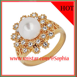 Whoelsale Gold Plated Rings with a Pearl Bead (R002G-1)