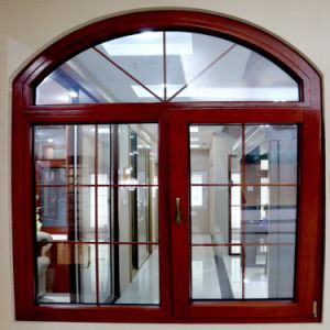 round arch top part aluminum frame casement swing glass door window