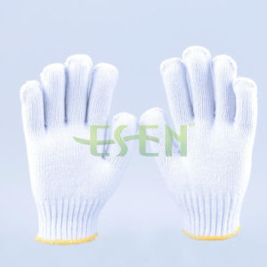 Natural Cotton/Polyester String Knit. 4 Thread Gloves Hight Quality (K10-B5-7) pictures & photos