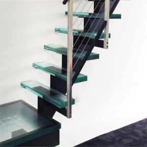 Modern Glass Stair with Antislip Staircase Glass Tread pictures & photos