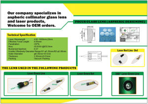 Supplying Aspheric Collimator Glass Lens for Kinds of Laser Products