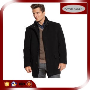 Men′s Wool Blended Contrast-Rib Car Coat pictures & photos