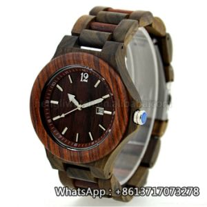 New Style Cheap Sanders Wooden Zebra Wood Quartz Watch Bg162 pictures & photos