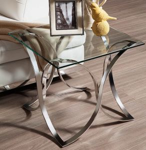 2016 Newest Glass Coffee Table with Stainless Steel Base (CCT-023)