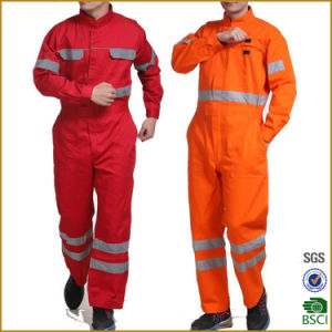 4381068eb9 Orange Red Reflective Tape Hi-Vis Protective Overall Workwear Safety Suit