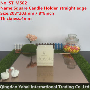 4mm Medium Square Dark Brown Glass Candle Holder pictures & photos