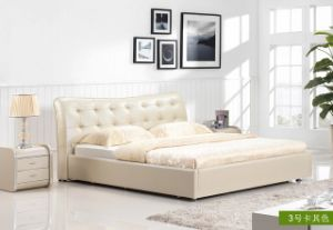 2015 New Leather Bed, Hot Sale Italy Bedroom Design, Single, Double, King Size