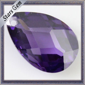 6X8mm Pear Shape Amethyst Cubic Zirconia with Hole for Jewelry pictures & photos