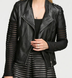 Fashion Cultivate One′s Morality Fake Leather Shorts Jacket Puj0708