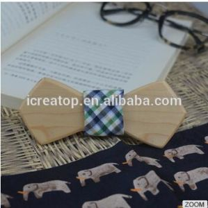 Factory Price Natural Different Wood Materia Handmade Diamond Wood Bowtie for Man with Engraved Logo