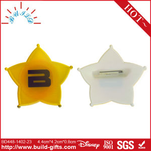 Star Shape Customized Pin Badge with Printing