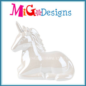 Elegant Unicorn Shaped Ceramic Piggy Bank with Colored-Printing pictures & photos
