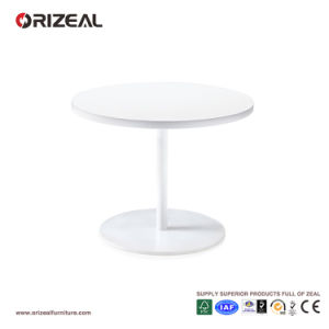 Orizeal Small Round Coffee Table, White Wood Side Table (OZ OTB002)