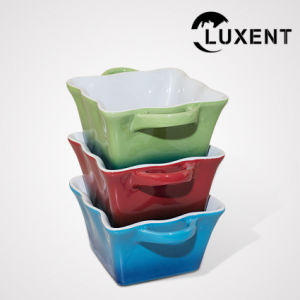 Mobile Ceramic Bakeware, Colored Wavy Shape Cake Tins