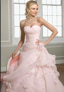 Order A Line Princess Gown Sweetheart Chapel Train Pink Organza Wedding Dress WD2121