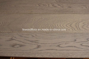 Grey Color White Oak Hardwood Flooring Wire Brushed