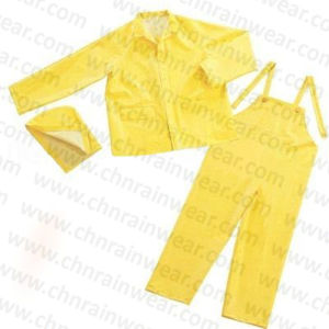 Custom Durable Waterproof PVC Polyester Adult Rain Suit pictures & photos