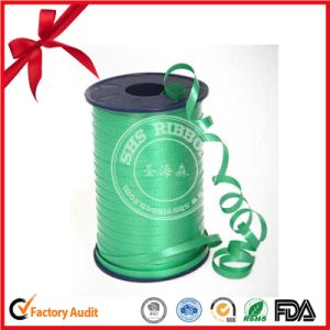 Green Polyester Satin Tape Culry Ribbon Roll for Party pictures & photos