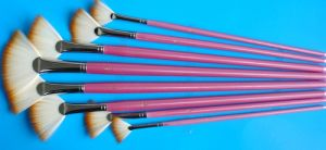 Fan Shaped Pink Artist Paint Brush for Drawing